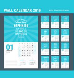Wall calendar template for 2019 year set 12 vector