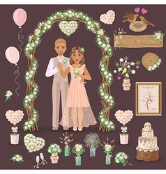 wedding rustic set vector image