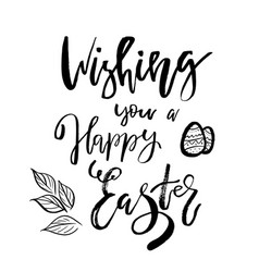 Wishing you a happy easter card with calligraphy vector