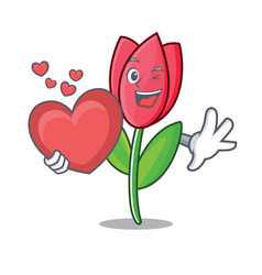 with heart tulip mascot cartoon style vector image