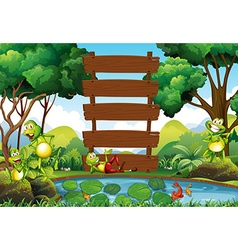 Wooden sign in the jungle vector