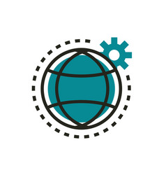 world setting gear web development icon line and vector image