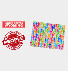 Wyoming state map population people and unclean vector