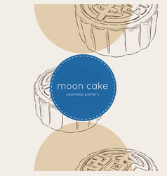 chinese cuisine moon cake seamless pattern vector image