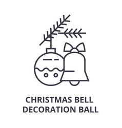 christmas bell decoration ball line icon outline vector image vector image