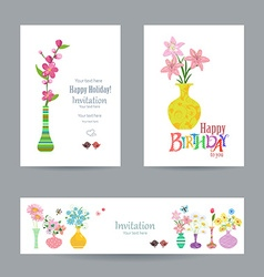cute collection invitation cards with flowers in vector image vector image