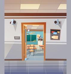 empty school corridor with open door to class room vector image vector image