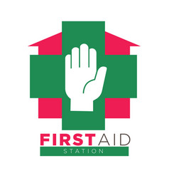 First aid station promotional logotype with palm vector