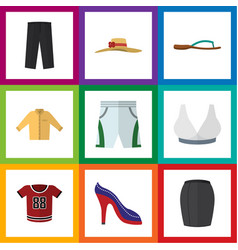 Flat icon garment set of t-shirt pants banyan vector