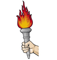 Hand with flaming torch vector image