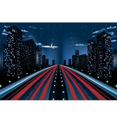 Night City Road Panorama2 vector image