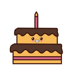 big birthday cake cute kawaii cartoon vector image vector image