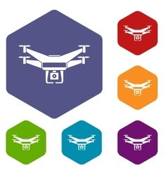 Drone video camera icons set vector image vector image