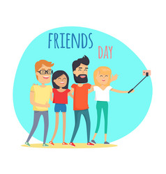 friends day two boys and two girls makes selfie vector image