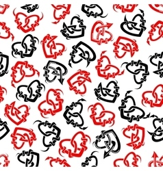 Red and black heart tattoos seamless pattern vector image vector image