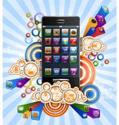 smartphone with clouds vector image