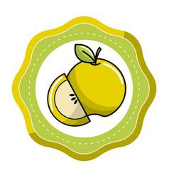 sticker green apple fruit icon stock vector image vector image