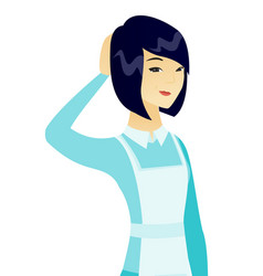 young asian cleaner scratching her head vector image