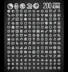 200 Sticker Icons set 2 vector image vector image