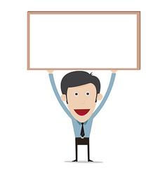 cartoon holding blank board vector image vector image