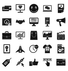 online profit icons set simple style vector image vector image