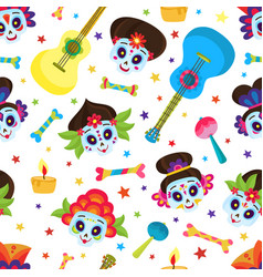 seamless pattern with colorful skulls and stars vector image vector image