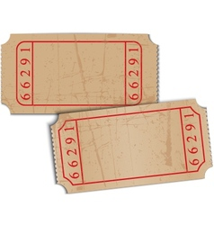 Vintage blank paper tickets vector
