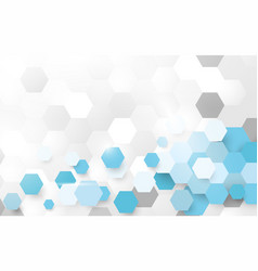 abstract white and blue pattern hexagon vector image vector image