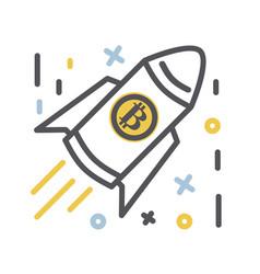 Bitcoin icon thin line vector