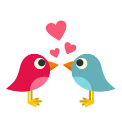 blue and pink birds with hearts icon isolated vector image vector image