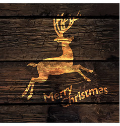 Christmas Greeting Card with Shining Gold Deer vector image vector image