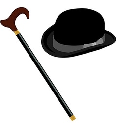 Hat and stick vector image