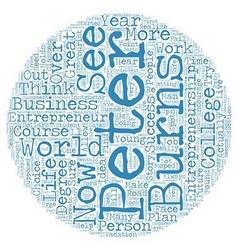 peter burns entrepreneur text background wordcloud vector image vector image
