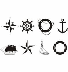 set of nautical symbols vector image vector image