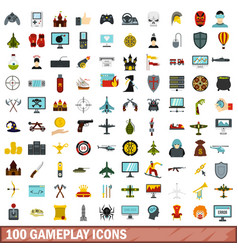 100 gameplay icons set flat style vector