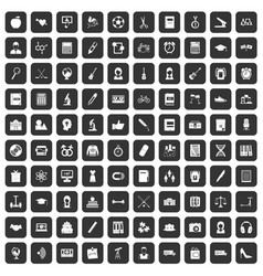 100 hi-school icons set black vector