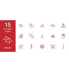 15 snow icons vector image