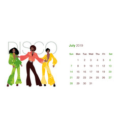 2019 dance calendar july man and two women vector image