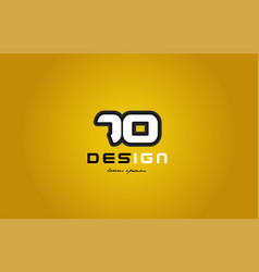 70 number numeral digit white on yellow background vector