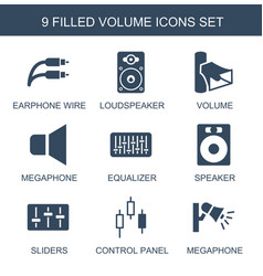 9 volume icons vector image