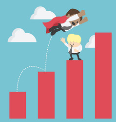 african businessman jump over graphs soaring vector image
