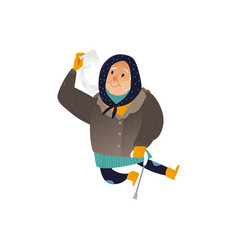 aged woman in winter vector image