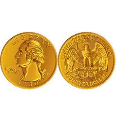 American washington quarter 25 cent gold coin vector