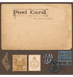 Antique postcards in with set postal stamps vector