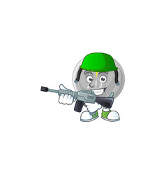 army silver coin cartoon character for currency vector image