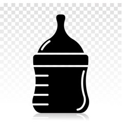 Baby milk bottle flat icon on a transparent vector
