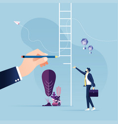 Big hand draw ladder for a businessman-leadership vector