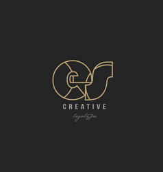 black and yellow gold alphabet letter es e s logo vector image