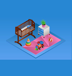 blue room baby crib banner isometric style vector image