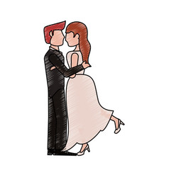 bride and fiance kissing cartoon vector image